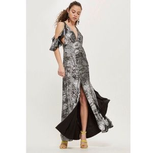 Topshop Cold Shoulder Foil Maxi Dress in Black
